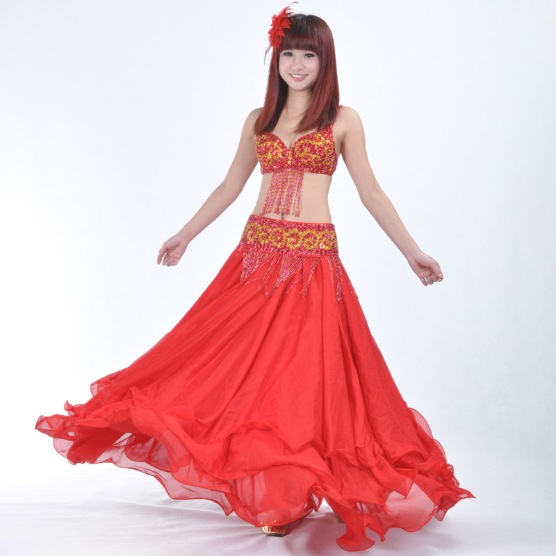 Belly Dance Skirt High Quality Women Sexy Belly Dance Costume Skirts 3 Rows Chiffon For Sale 12 Colors Available