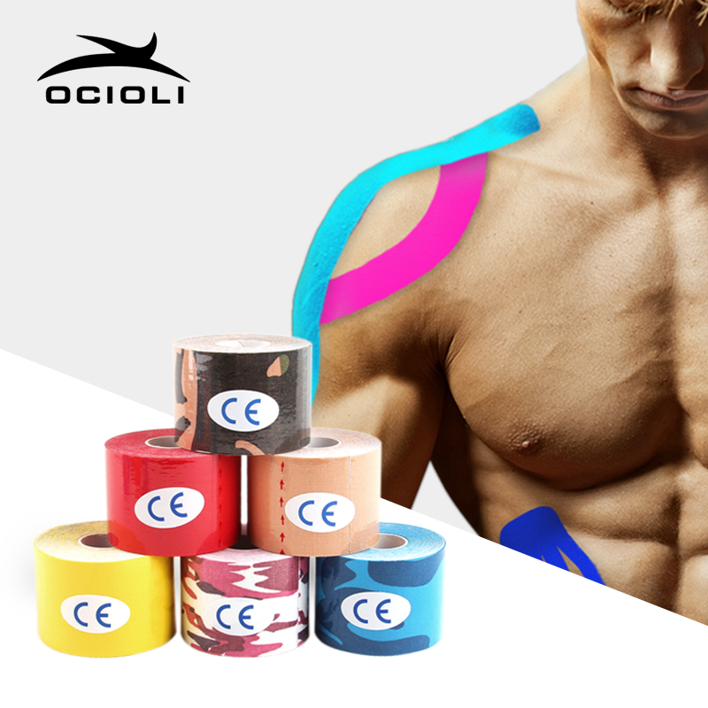 5cm*5m Kinesiotape Elastic Cotton Roll Adhesive Kinesiology Tape Sports Injury Muscle Strain Protection Tapes First Aid Fitness