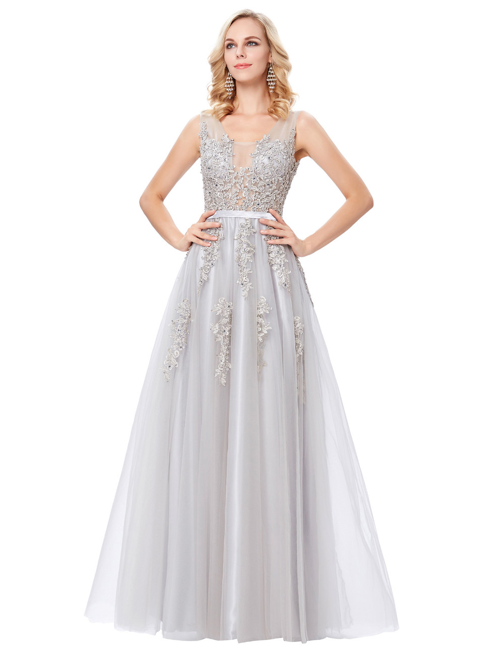 Grace Karin Tulle Appliques Celebrity Prom Dress Sexy V Back Sleeveless Long Royal Blue Robes De Soiree 2017 Longue Prom Dresses 23