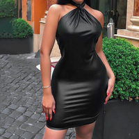 Missord 2019 Women Sexy Irregular Neck Off Shoulder Backless Dresses Female Solid Color Mini Elegant Latex Dress FT19503