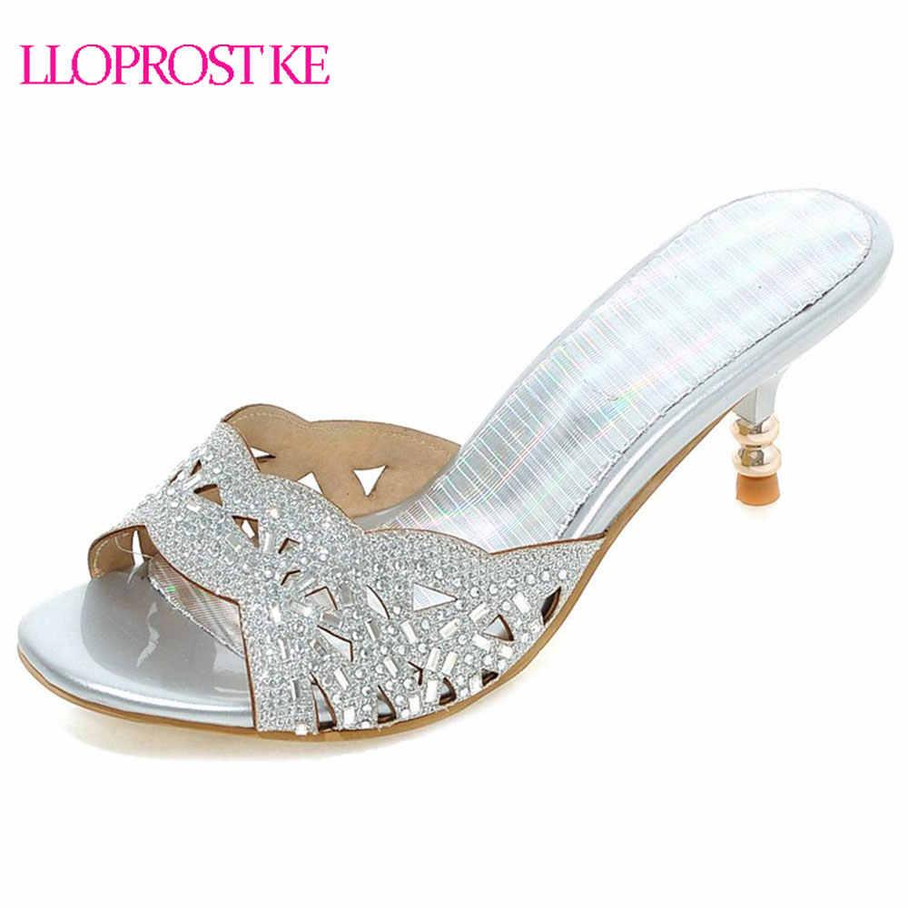 3a7f6a891 ... Lloprost ke/новые модные золотистые и Серебристые пикантные женские  босоножки на шпильке со стразами высокого ...