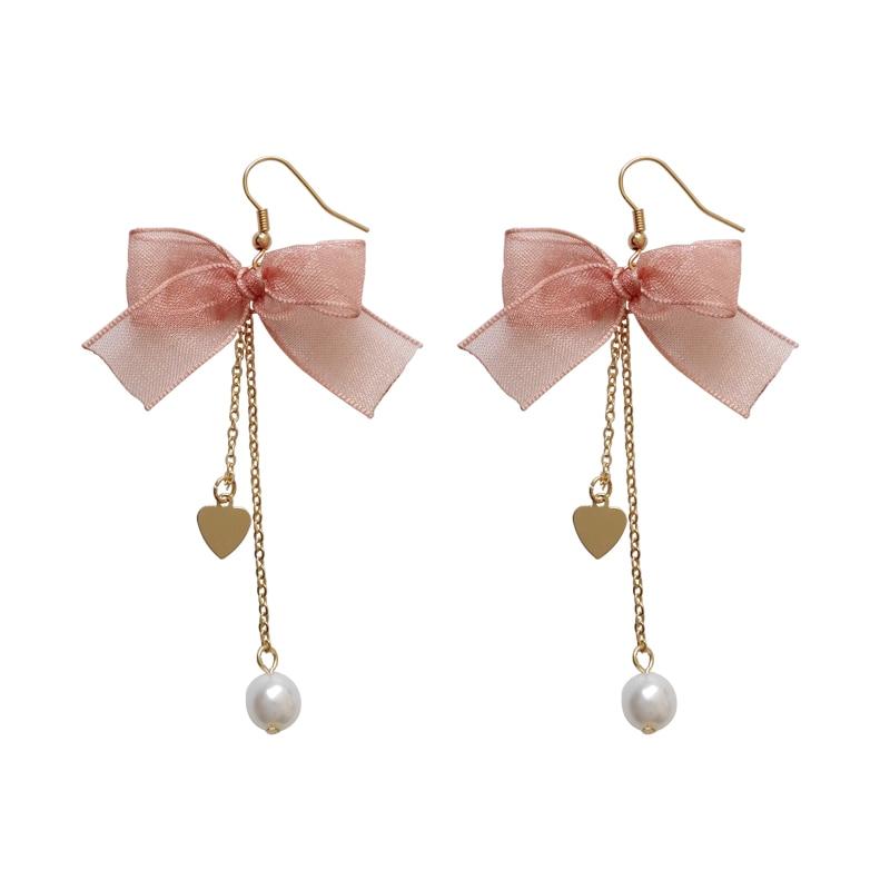 The new bow earrings sweet maiden temperament contracted stars eardrop bowknot long love earrings fashion bowkont woman earrings
