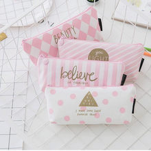 Fresh Pink Stripe Case Cute Canvas Pencil Bag School Supplies Stationery Material Pencil Case 20*8*4cm Girl Pencil Bag(China)