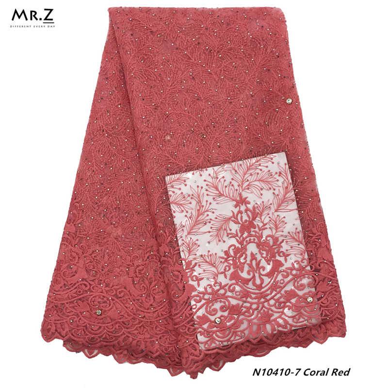 Mr.Z 2019 última tela de encaje francés africano tela de encaje de red de tul de alta calidad 5 yardas tela de encaje nigeriano bordado para mujeres