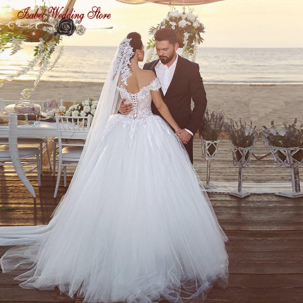 cb6a1d362 Nueva bola de la llegada vestido fuera del hombro de encaje Vintage vestidos  de novia precios baratos en Euros vestidos novia 2016 en Vestidos de novia  de ...