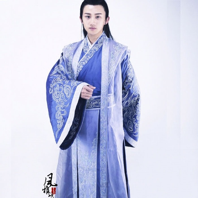 Blue Embroidery Male Prince Costume Hanfu for TV Play The Princess WeiYoung  -in Chinese Folk Dance from Novelty & Special Use