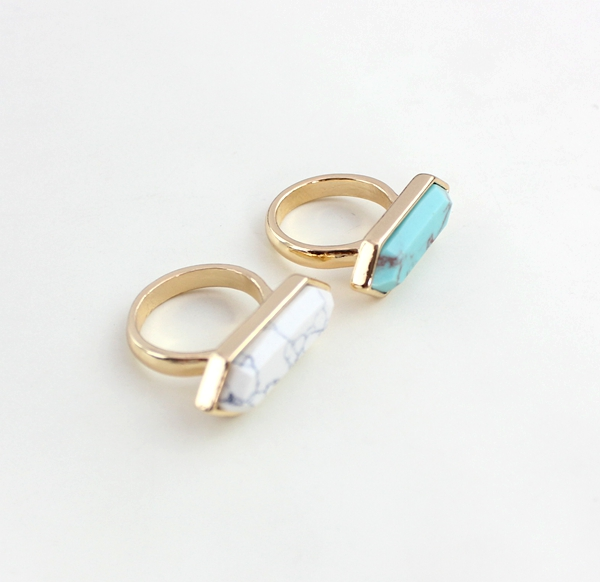 Simple Blue White Turquoise Gold Plated Rings New Design Fashion