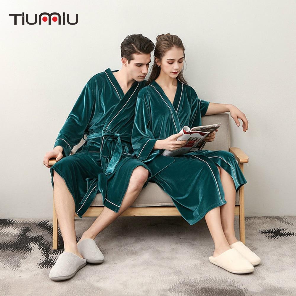 Soft Gold Velvet Bath Robe Couple Bathrobe Hotel Home Clothes Women Warm Bath Robes Sleepwear Four Season