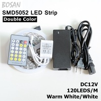 led strip 5M 120leds/m white and warm white two in one flexible Strip Lighting +24key ir remote controller +DC12V 5A power