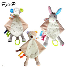 2017 New Baby Super Soft Donkey & Bear & Monkey Hand Puppet Comforting Doll Plush Towel Multifunctional Grasping Rattle Toys