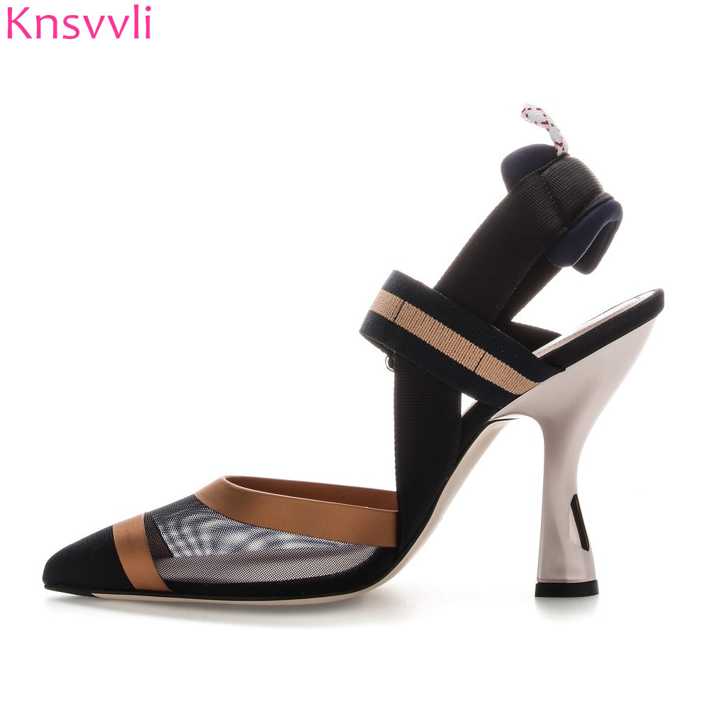 все цены на 2018 New Women Sandals Mesh Patchwork Stripes Strappy High heels Sandals Pointed toe Elastic buckle Slingback Ladies Party Shoes онлайн