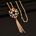 Charm Rhinestone Flower Tassel Pendant Long Necklace Chain Free Shipping My288 2016 New Fashion Jewelry
