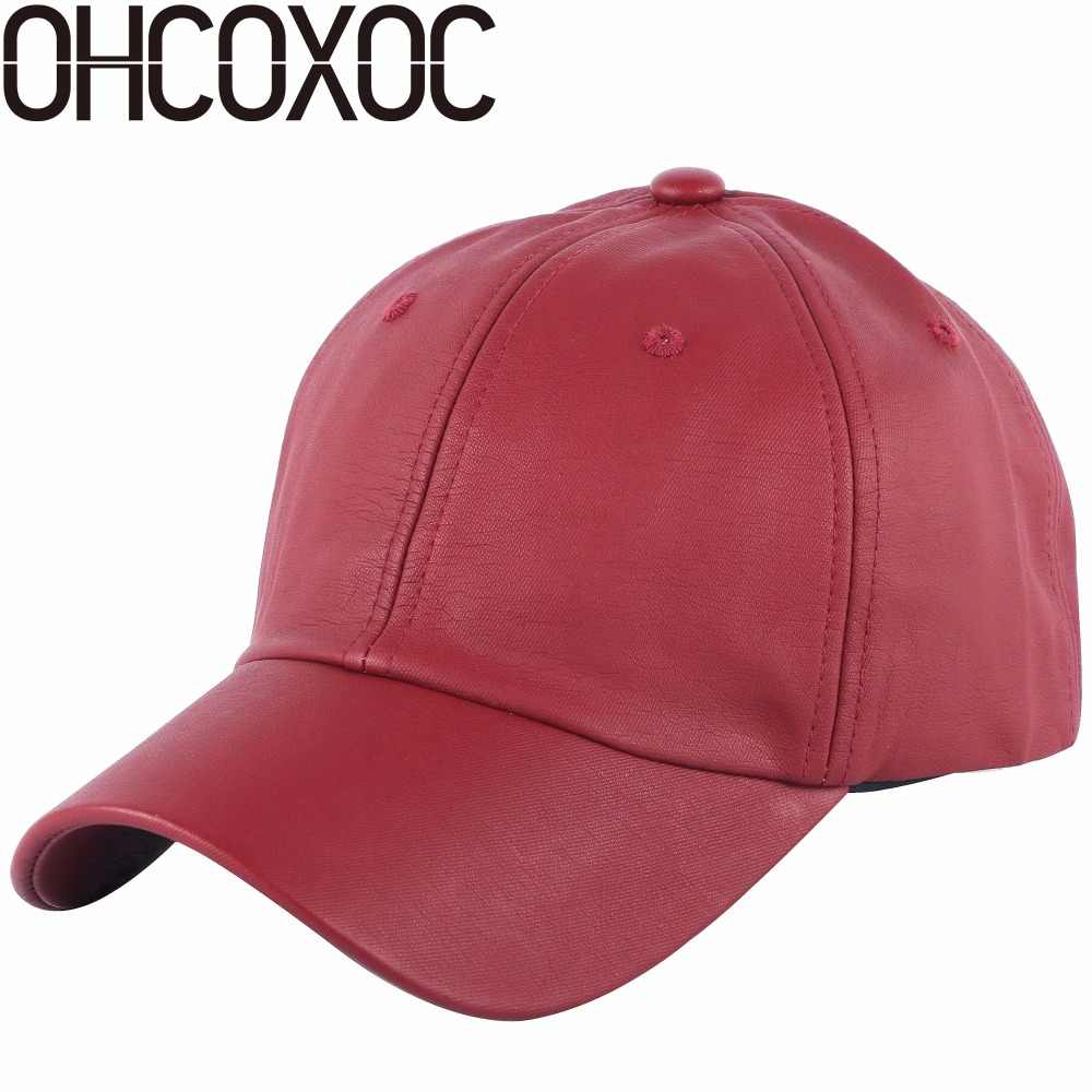 Detail Feedback Questions about OHCOXOC new design women men brand baseball  cap solid white black navy pink color High quality Pu leather soft casual  hats ... 587e2570867e