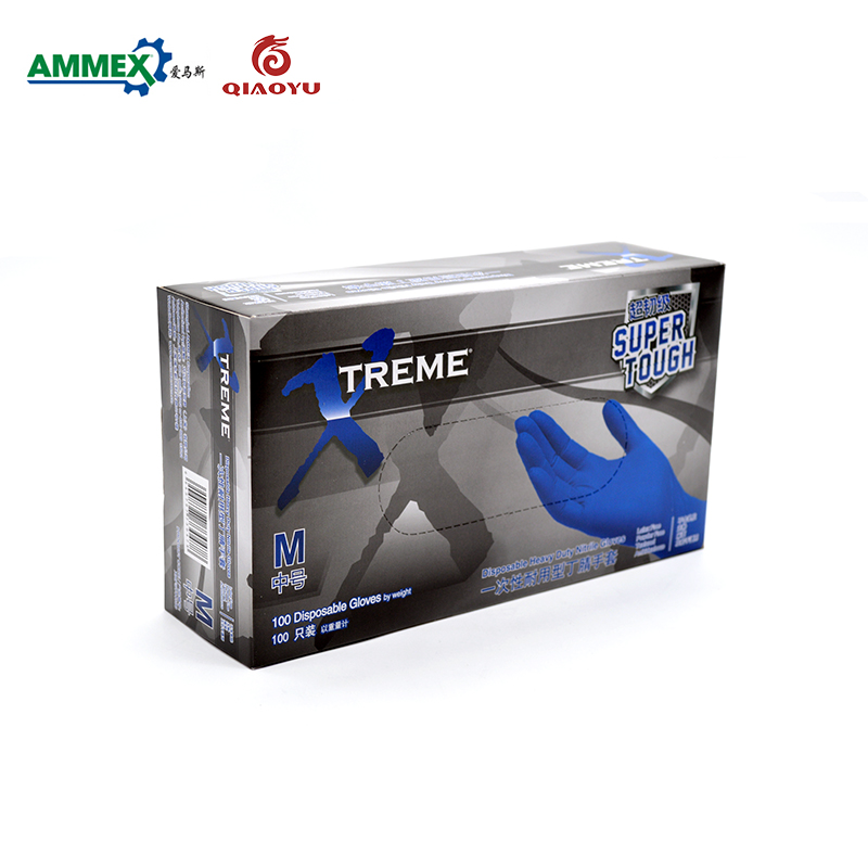 AMMEX Disposable Blue Nitrile Gloves(Powder Free) Industrial Production Mechanical Maintenance Gloves цена