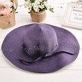 Акция! вс Шляпы для Женщин Новых женщин Способа Лето Складной Большой Широкими Полями Соломенные Шляпы Пляж Головные Уборы 4 Цвета 30