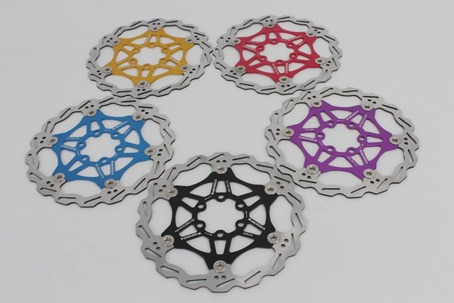 180 / 160MM multicolor ultralight MTB bike six nails floating disc brake rotor