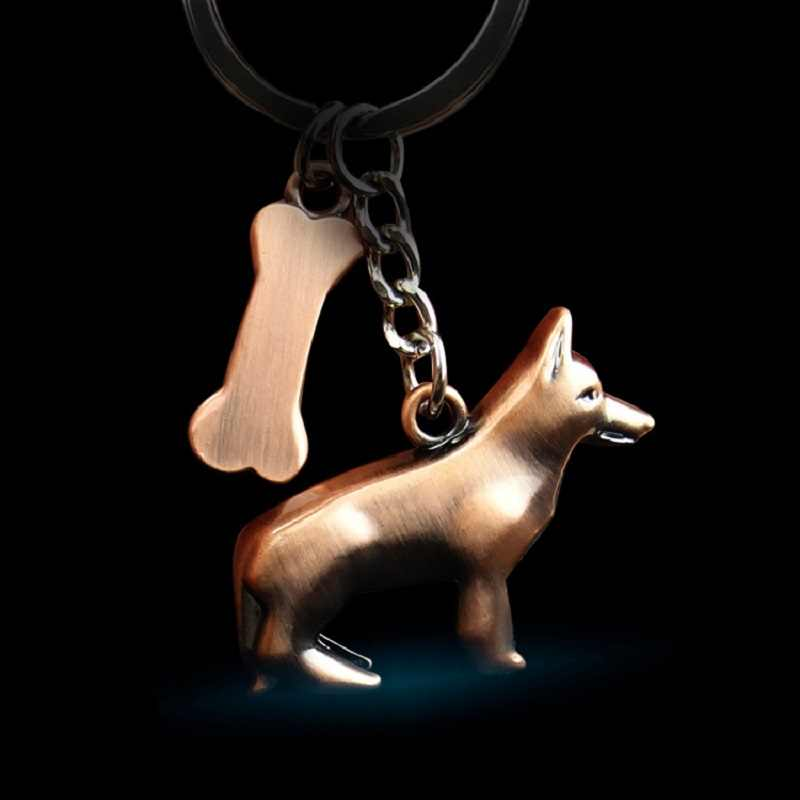 German Shepherd Dog Key Chain Animal Jewelry Girls Pet  Gift Keychain fashion creative Dog Key ring Car wallet Pendant