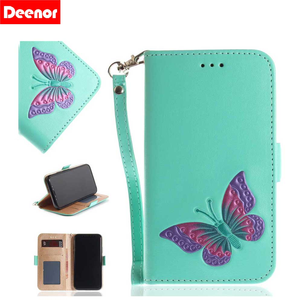 Deenor Butterfly pattern Wallet PU Leather Flip Cover Case For iPhone 8 iPhone 7 7 Plus 6s 6 Plus For iPhone 5 5S SE X