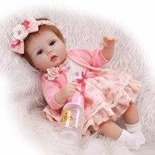 Slicone reborn bébé poupée jouet jouer maison coucher jouets pour enfant filles brinquedos doux corps nouveau-né bébés de collection poupée