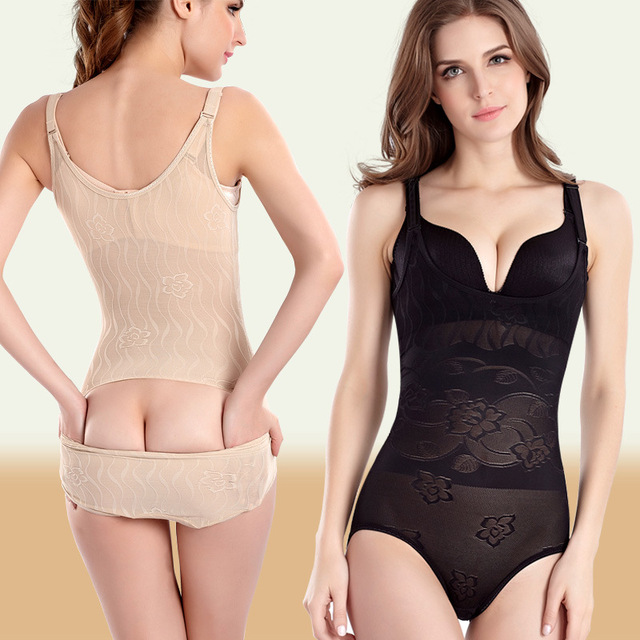 b6f98c22a5 XS-XXL Bodysuit Women Body Shaper Waist Trainer Slimming Underwear Shapewear  Corsets Tummy Control Easy to WC