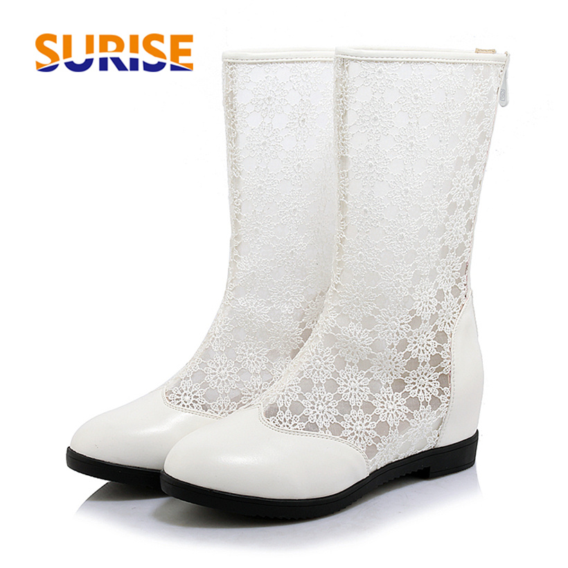 Summer Women Mid-calf Boots Medium High Block Heel Embroider Mesh Round Toe Zipper Party Height Increasing White Lady Half Boots double buckle cross straps mid calf boots