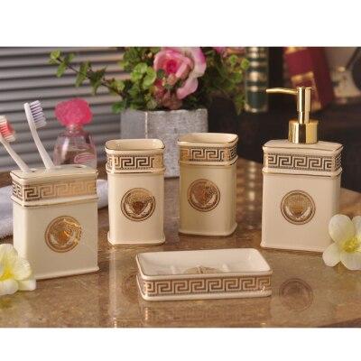 Мода пять штук набор для ванной керамические комплект стиральная поставки свадебные подарки чашка + держатель зубной щетки + бутылка лосьона + мыльница