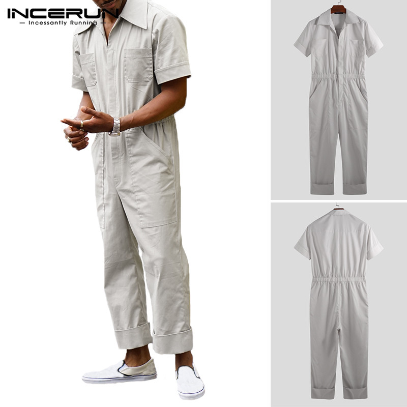 INCERUN 2019 Fashion Men Jumpsuit Cargo Overalls Pockets Shortsleeve Solid Pants Loose Cool Streetwear Casual Rompers Men S-5XL