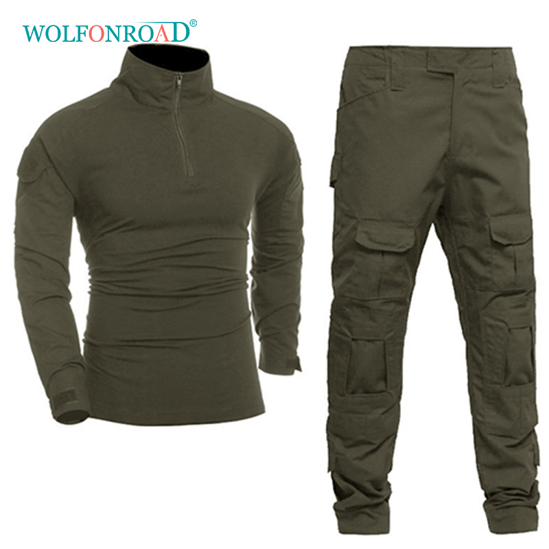 WOLFONROAD Men Tactical Uniforms Military Clothing Airsoft Army Combat Suit Sets Outdoor Hunting Shooting Uniforms With