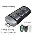 Clé à distance intelligente 433Mhz pour VW Passat CC 3C0959752BA 3 boutons Fob avec puce ID48 (P/N: 3C0 959 752 BA) Clé de voiture Automobiles et Motos -