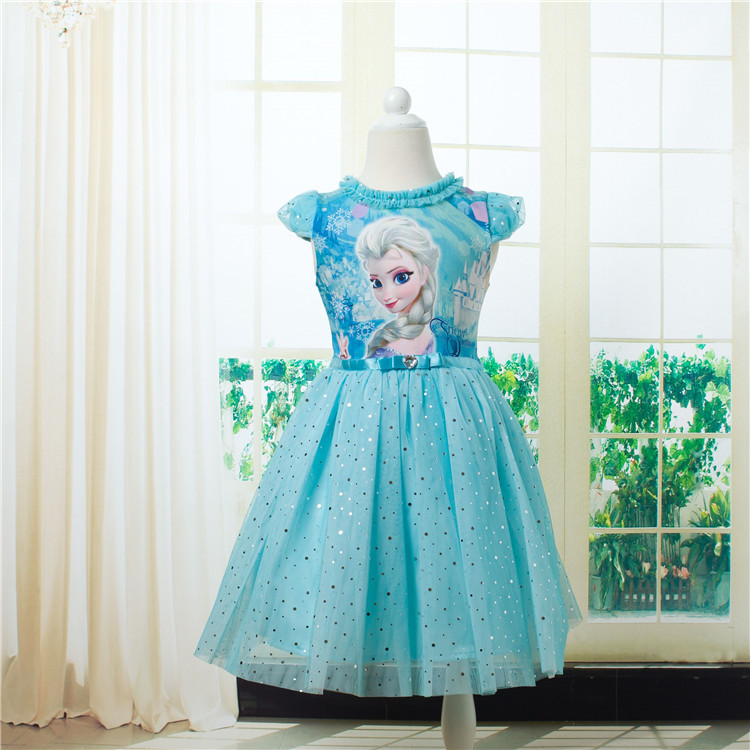 2016 summer party dresses for girls princess elsa dress costume elza dress costumes and anna. Black Bedroom Furniture Sets. Home Design Ideas