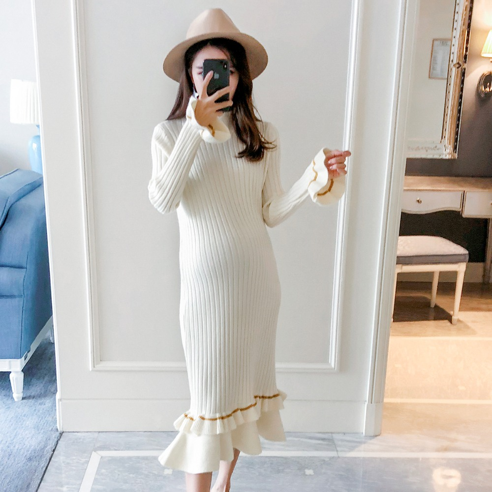 Pregnant women sweater 2018 new winter fashion wood ear long section of loose maternity sweater Korean