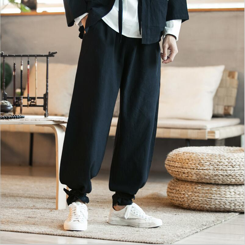 High Quality Men Long Pants 2020 New Style Cotton Linen Drawstring Wide Leg Pants With Pocket Solid Loose Plus Size M-7XL