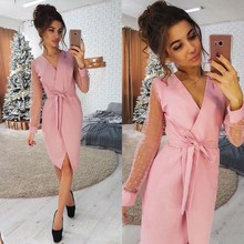 2019 New Women V-Neck Mesh Party Dress Summer Sexy Long Sleeve Belt Empire A-Line Dress Casual Solid Knee Length Dresses 2018 summer fashion solid simple style a line dress woman o neck short sleeve elegant empire knee length party dresses c1455