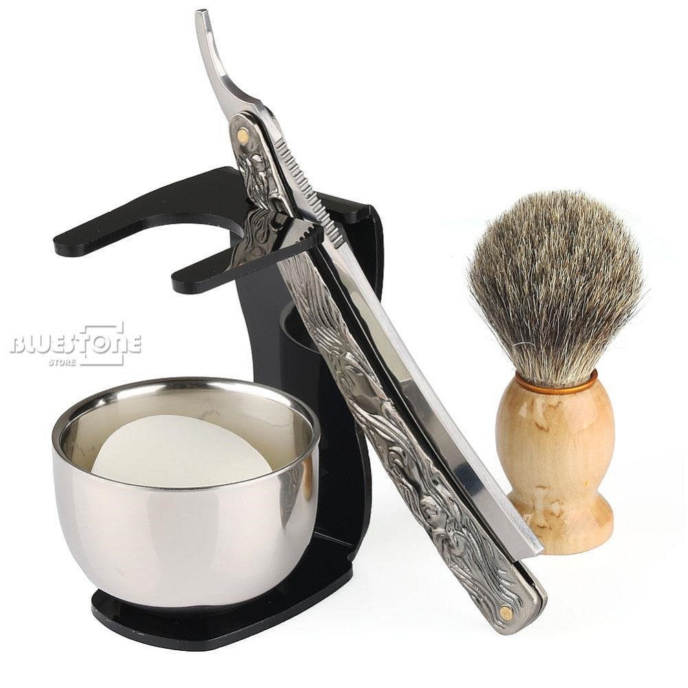 5 in 1 Men's Barber Shaving Set Shaving Knife Straight Razor + Brush + Black Stand + Bowl + Soap Free Shipping