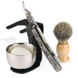 Juego de afeitar de barbero de 5 en 1, cuchillo de afeitar recto  cepillo  soporte negro  cuenco  jabón envío gratis