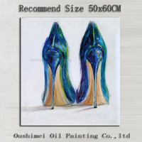 Professional Artist Handmade High Quality Impression High Heeled Shoes Oil Painting On Canvas Modern Lady Shoes