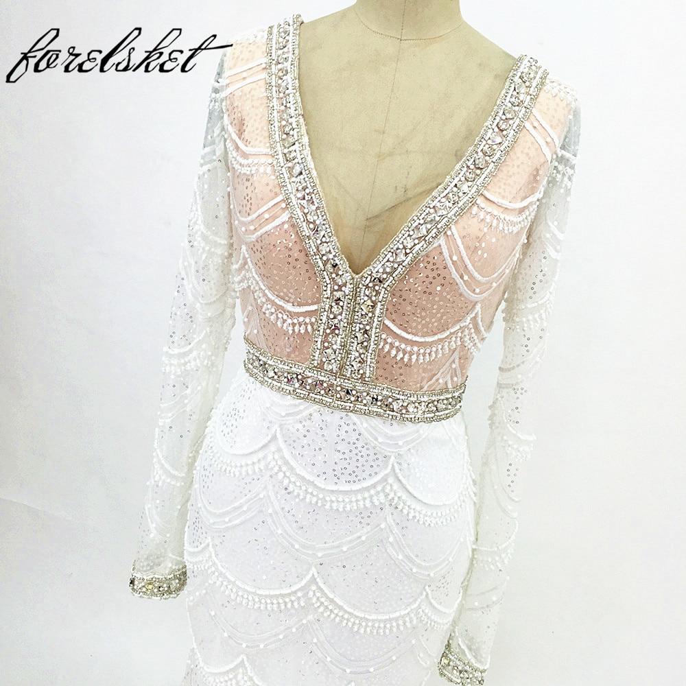 Champagne sjöjungfru snörning brudklänning 2017 Backless Vestidos - Bröllopsklänningar - Foto 1
