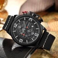 CURREN Men Quartz Watches Leather Sports Chronograph Wrist Watch Men S Army Military Waterproof Date Clock
