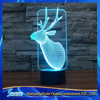 3D Vision David's Deer Stag LED Acrylic Plate 7 Colors Gradients Christmas Deer Desk Lamp Bedroom Decoration Night Light