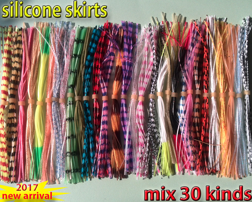 2017new fishing silicone skirts with rattle collar 30kinds/lot spinner bait bass lure blade fly fishing lures the length is 13cm