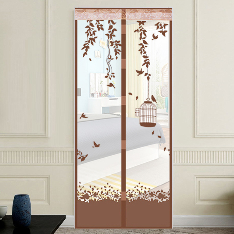 2017 Magnetic Soft Screen Door Blankholding Mosquito Curtain Summer Bird Cage Wear Stripe Printing Factory Direct Salmonella