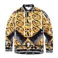 2016 Новая Мода Случайные Люди Рубашка С Длинным Рукавом Тенденция Тонкий Fit Мужчины Цифровая Печать Высокого Качества Мужские Рубашки Платья Мужчины одежда