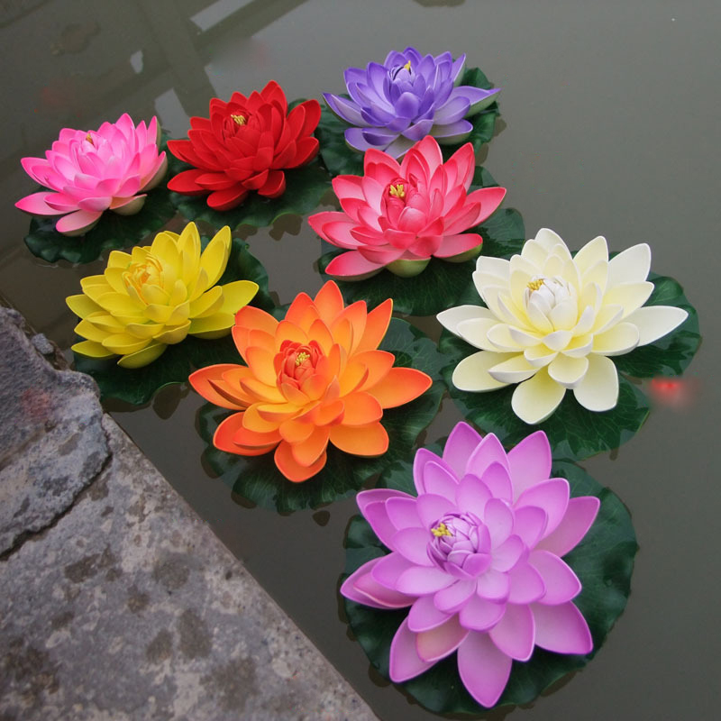 18cm lotus lilies simulation waterscape sleeping beauty for Floating flowers in water