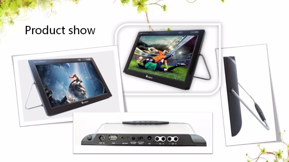 9 inch DVB -T2 Portable Mini tv Player Analog TV from Shenzhen Greatpeak Factory original dvb t satlink ws 6990 terrestrial finder 1 route dvb t modulator av hdmi ws 6990 satlink 6990 digital meter finder