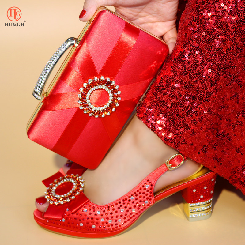 2018 New Shoes and Bag Set African Sets Red Color Italian Shoes with Matching Bags fashion Women Shoes and Bag For Wedding Party yh01 hot sale african matching shoes and bag with stone fashion dress shoes and bags free shipping