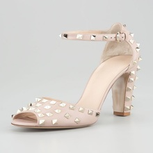 Elegant Ankle Strap Rivets Women Sandals zapatos mujer Square High Heels Peep Toe Summer For Chaussure Femme Dress Shoes
