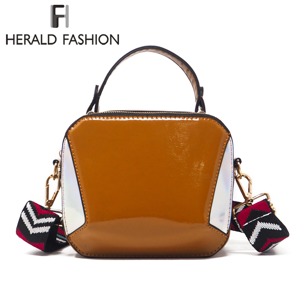 Herald Fashion Wide Strap Women Shoulder Bag With Sequins Quality Patent Leather Flap Female Messenger Bag Ladys Crossbody Bag