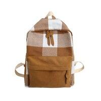 Fashion simple ins bag female retro girl Korean campus student lattice backpack Japanese campus backpack