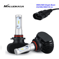 MALUOKASA 2PCs S1 Car Headlight 9005 9006 H8 H9 H11 H7 H4 HB2 9003 Hi Lo