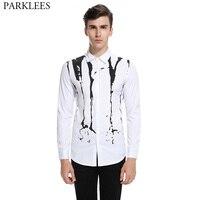 White Shirt Men 2017 Splash Ink Print Men Shirt Long Sleeve Slim Fit Camisa Masculina Casual